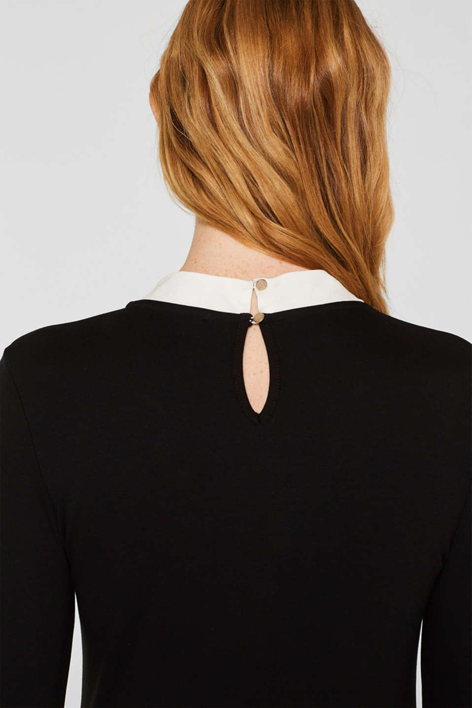 Long sleeve stretch top with a pussycat bow, BLACK, detail image number 5