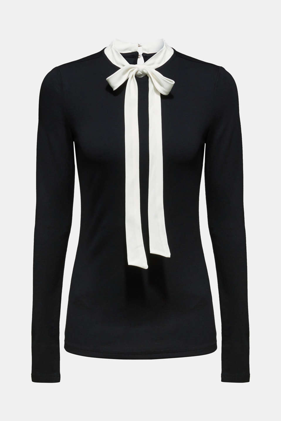 Long sleeve stretch top with a pussycat bow, BLACK, detail image number 6