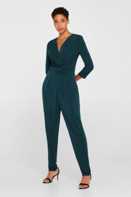 Jersey stretch jumpsuit with wrap effect, DARK TEAL GREEN, detail