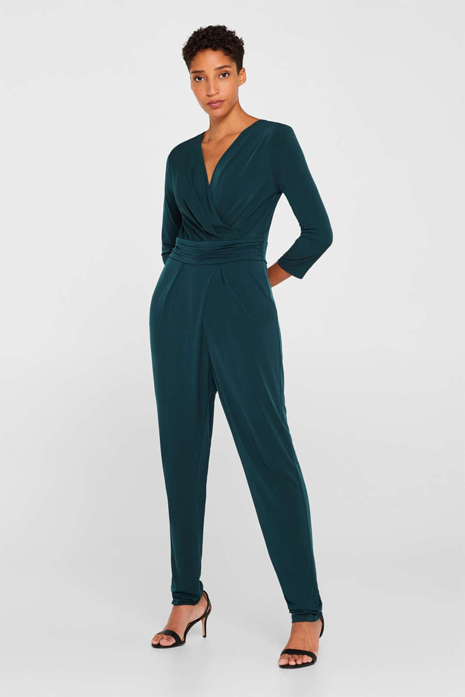 Esprit - Jersey stretch jumpsuit with wrap effect