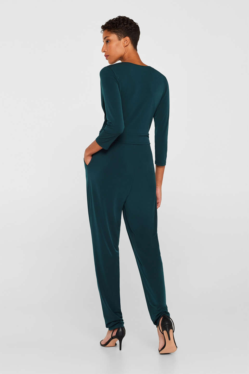 Overalls knitted, DARK TEAL GREEN, detail image number 1