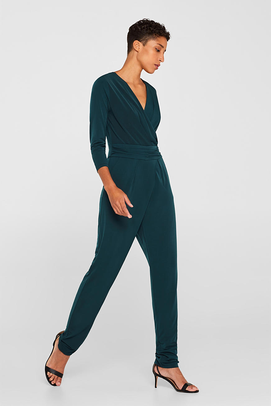 Jersey-Stretch-Jumpsuit mit Wickel-Effekt