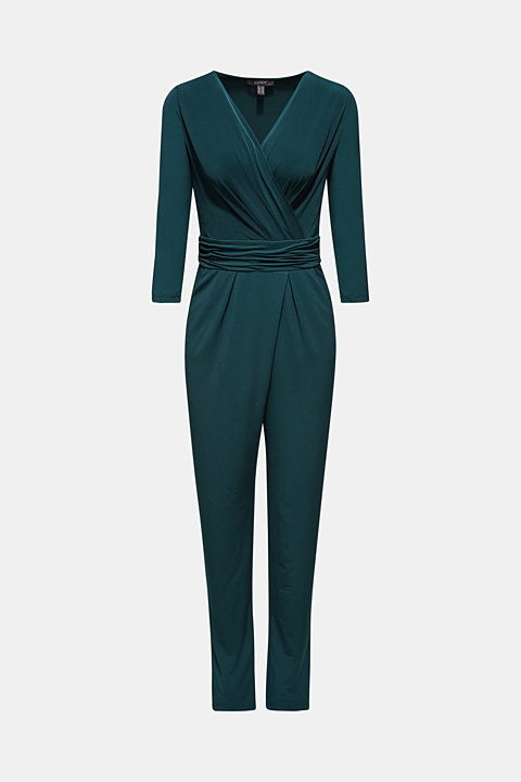 Jersey stretch jumpsuit with wrap effect