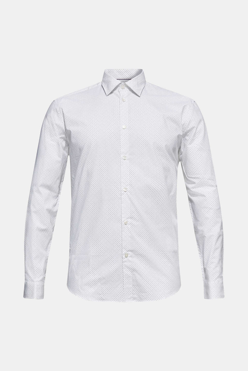 Shirt with micro print, 100% cotton, WHITE, detail image number 7