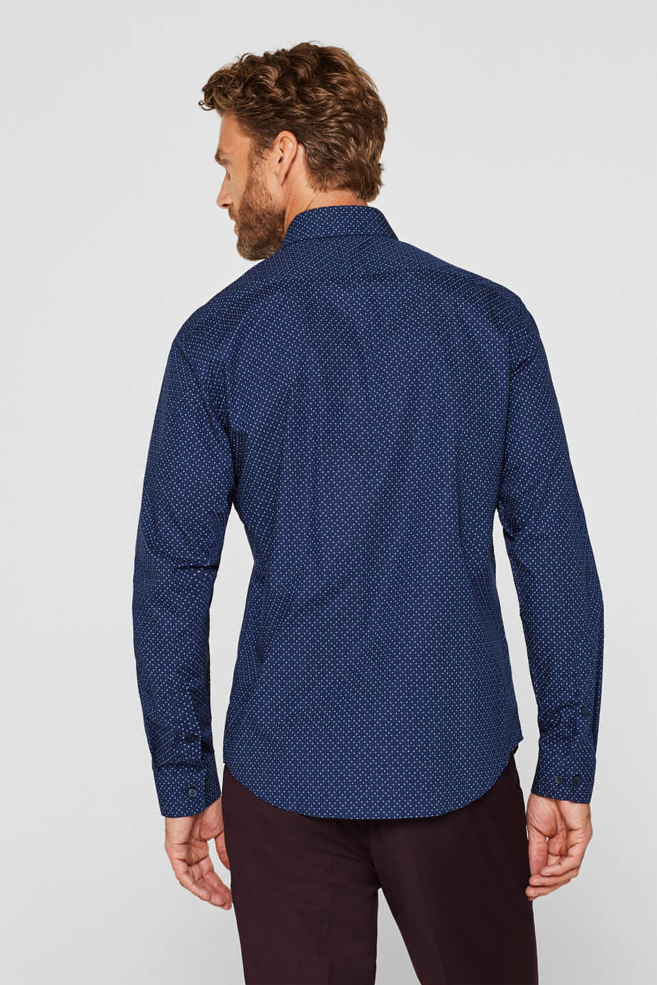 Shirt with micro print, 100% cotton, NAVY, detail image number 3