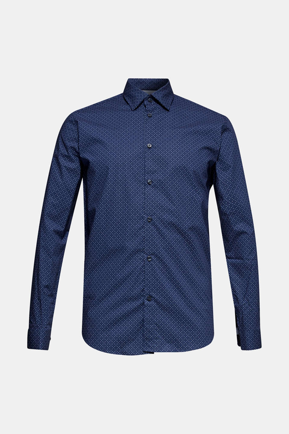 Shirt with micro print, 100% cotton, NAVY, detail image number 7
