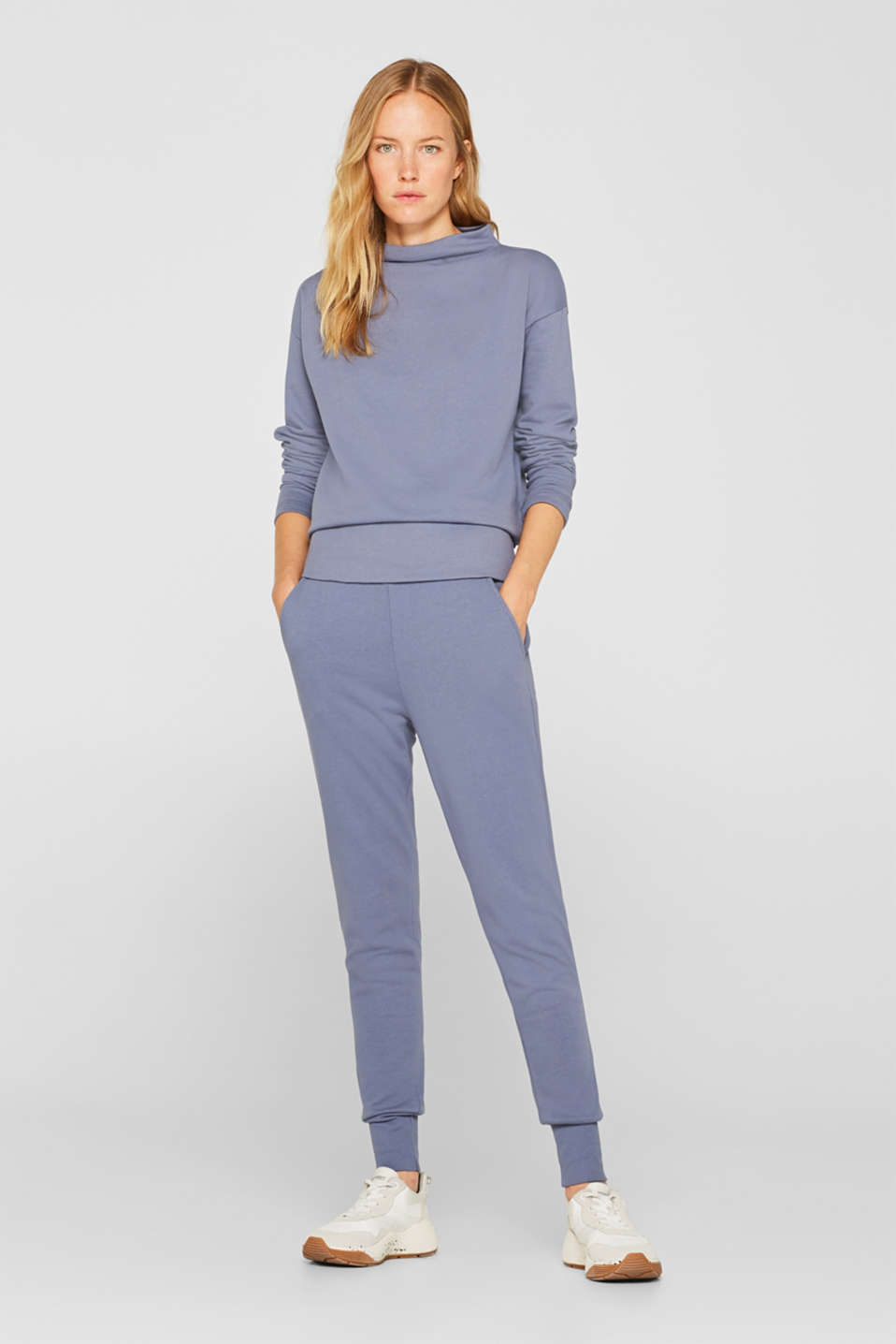 Esprit - Jersey trousers with ribbed cuffs
