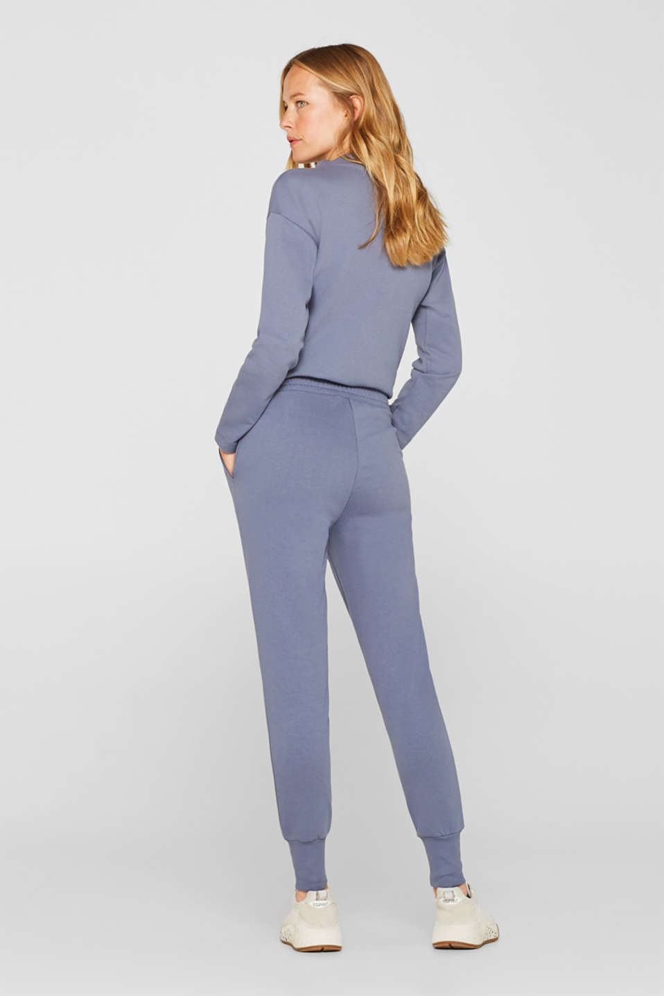 Jersey trousers with ribbed cuffs, GREY BLUE, detail image number 3