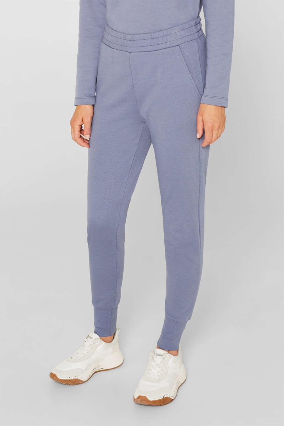 Jersey trousers with ribbed cuffs, GREY BLUE, detail image number 5