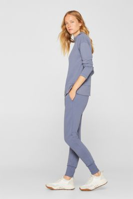 Jersey trousers with ribbed cuffs, GREY BLUE, detail