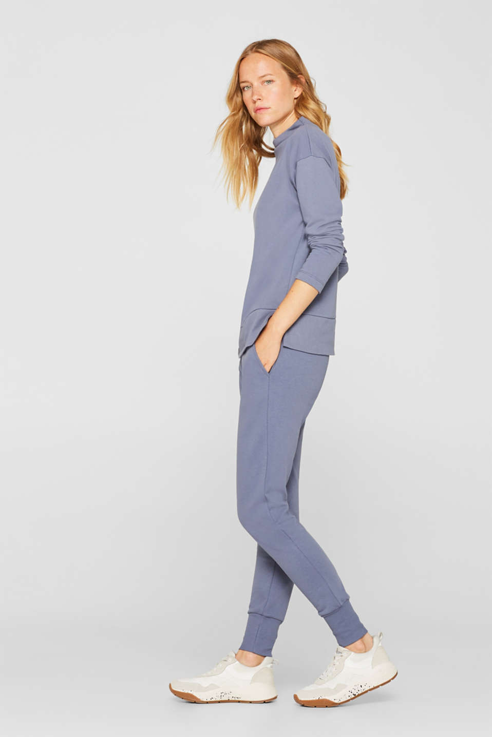 Jersey trousers with ribbed cuffs, GREY BLUE, detail image number 1