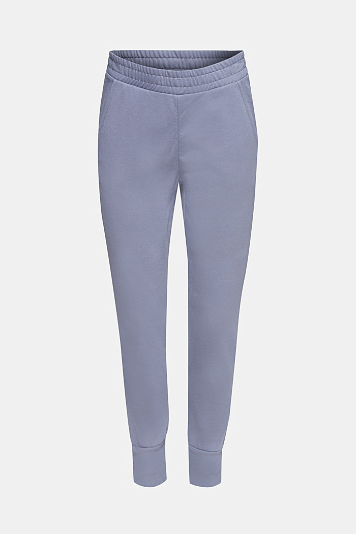 Jersey-Pants mit Rippbündchen, GREY BLUE, detail image number 0