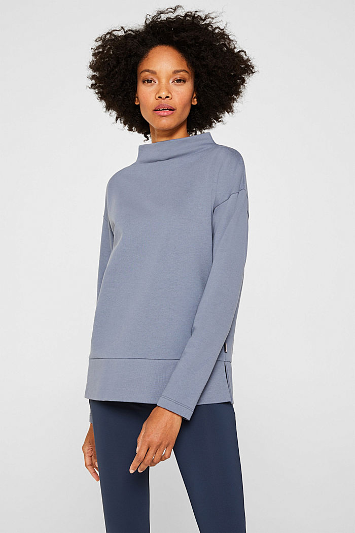Long sleeve top with a wide stand-up collar, GREY BLUE, detail image number 0
