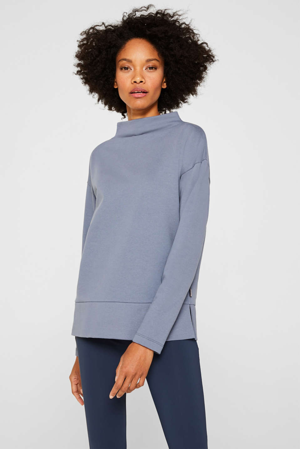 Esprit - Long sleeve top with a wide stand-up collar