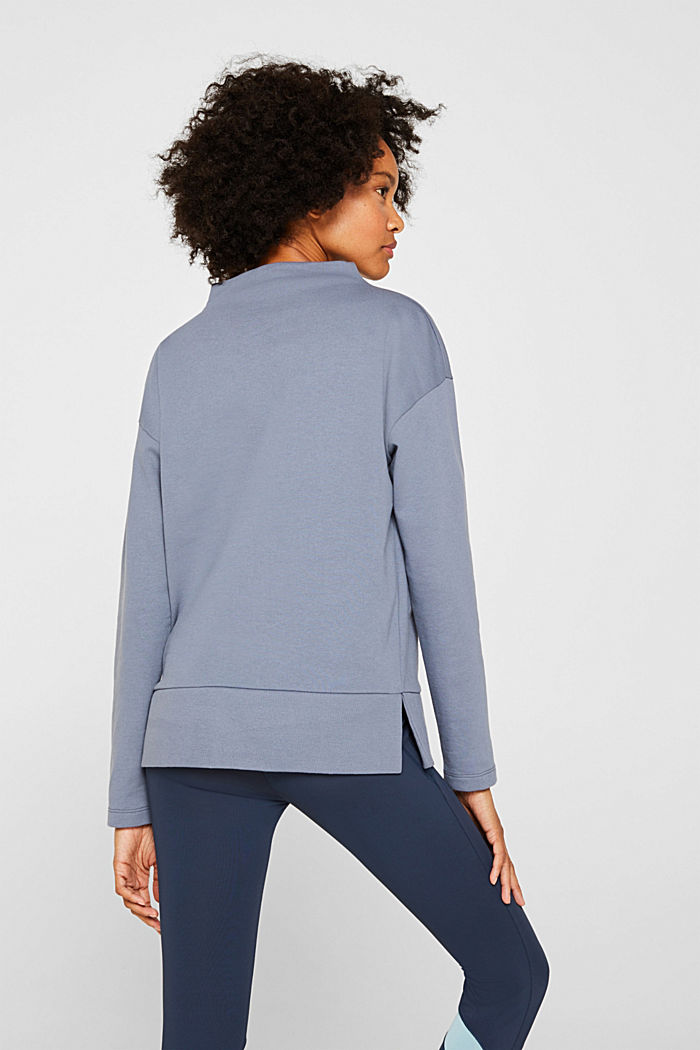 Long sleeve top with a wide stand-up collar, GREY BLUE, detail image number 3