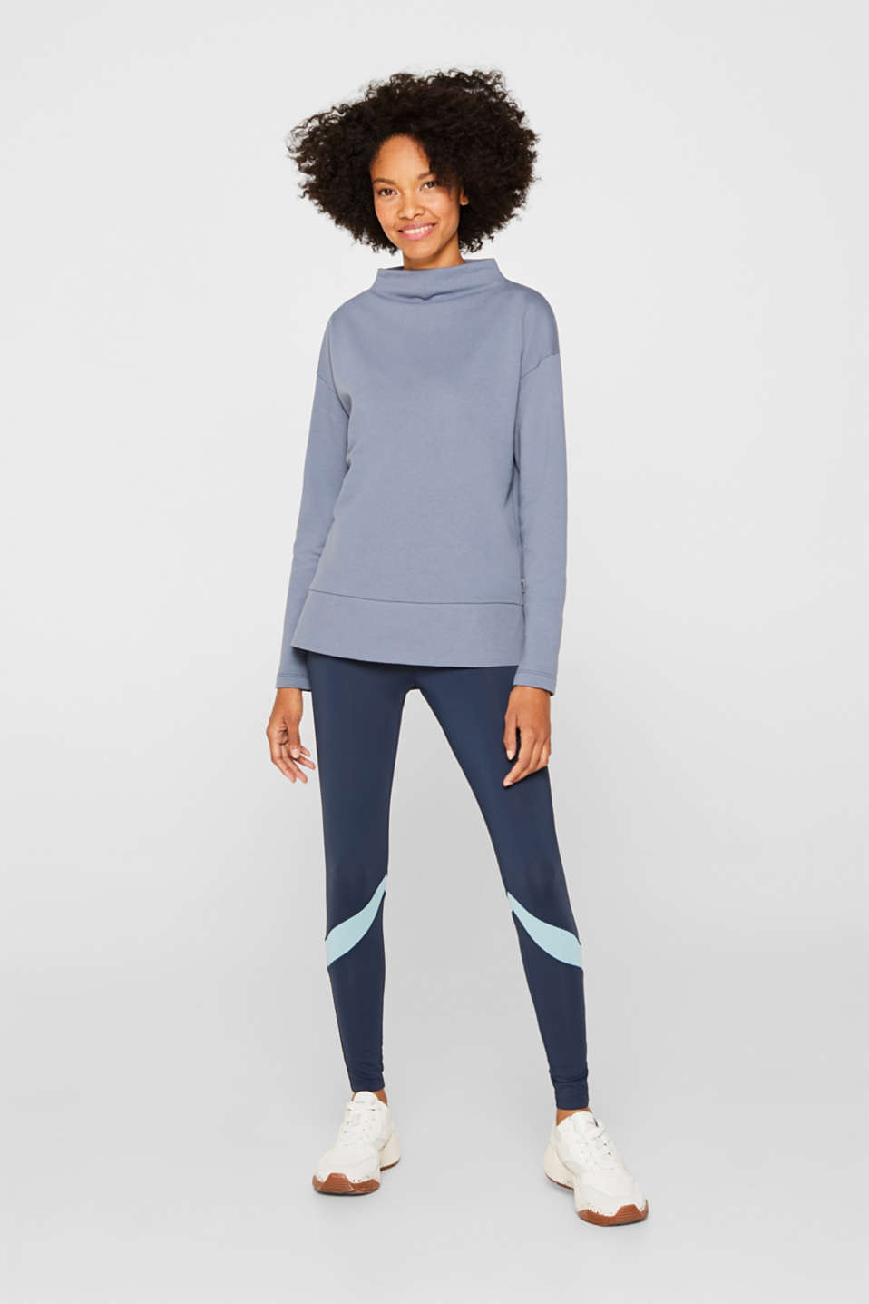 Long sleeve top with a wide stand-up collar, GREY BLUE, detail image number 1