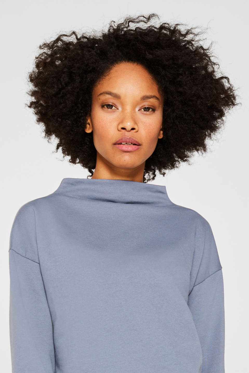 Long sleeve top with a wide stand-up collar, GREY BLUE, detail image number 5