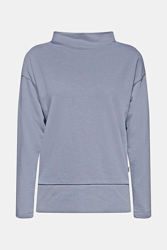Long sleeve top with a wide stand-up collar, GREY BLUE, detail image number 6