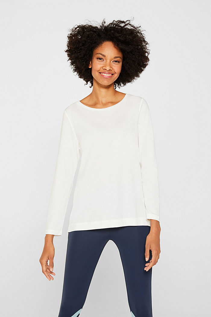 Long sleeve top with a wide neckline, OFF WHITE, detail image number 0