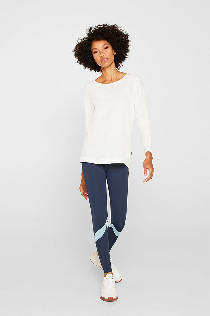 Long sleeve top with a wide neckline, OFF WHITE, detail image number 1