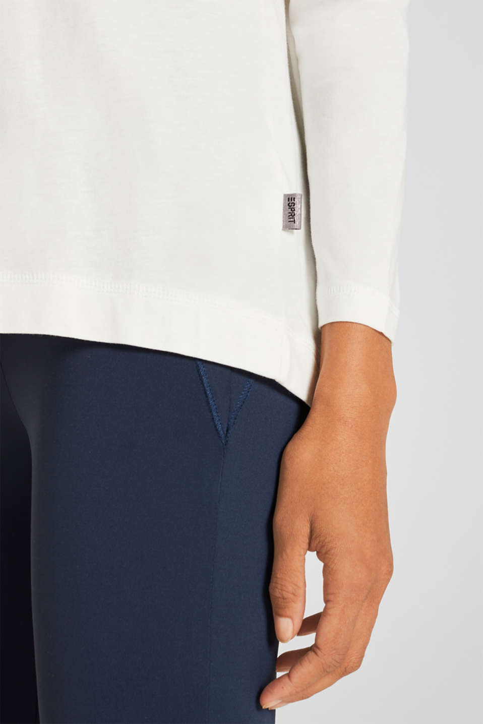 Long sleeve top with a wide neckline, OFF WHITE, detail image number 2