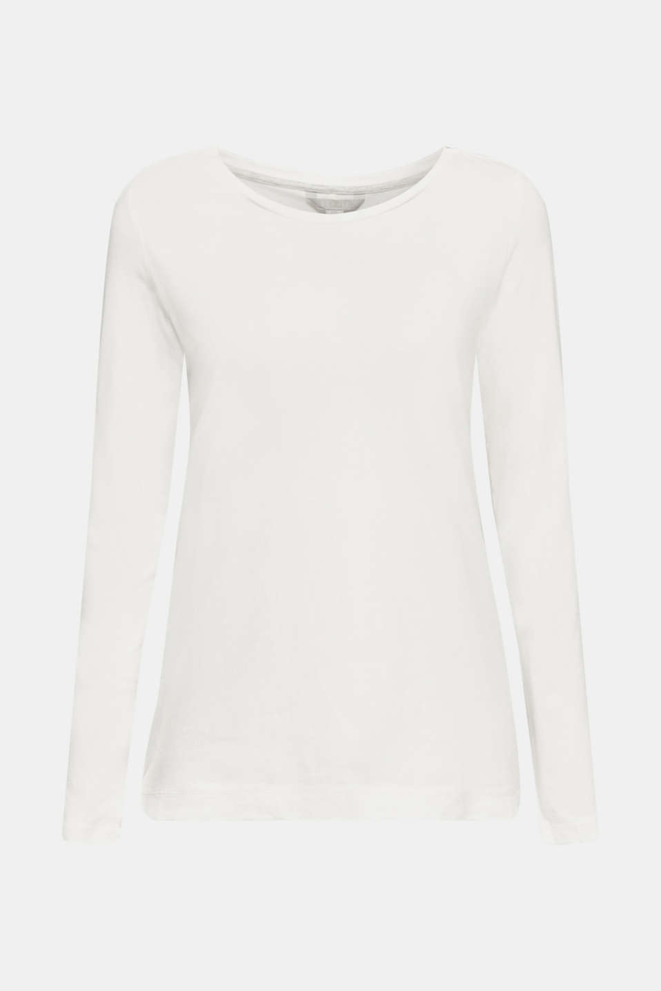Long sleeve top with a wide neckline, OFF WHITE, detail image number 6