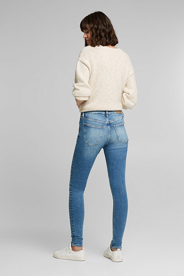 Stretch jeans in organic cotton, BLUE MEDIUM WASHED, detail image number 3