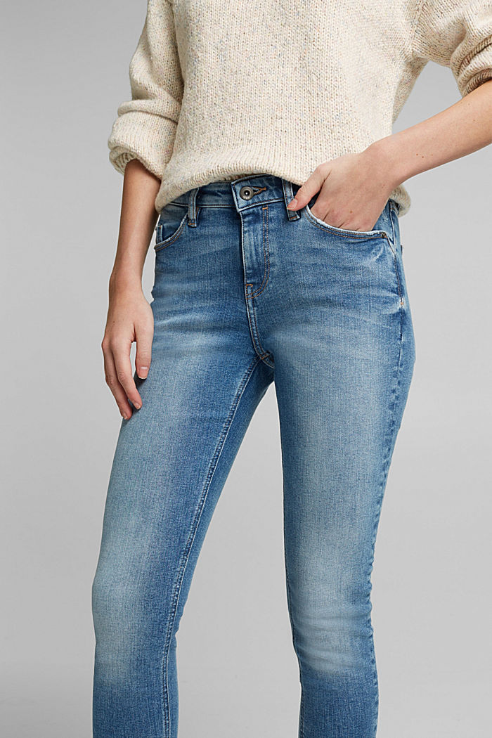 Stretch jeans in organic cotton, BLUE MEDIUM WASHED, detail image number 5
