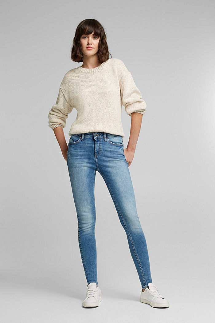 Stretch jeans in organic cotton, BLUE MEDIUM WASHED, detail image number 1