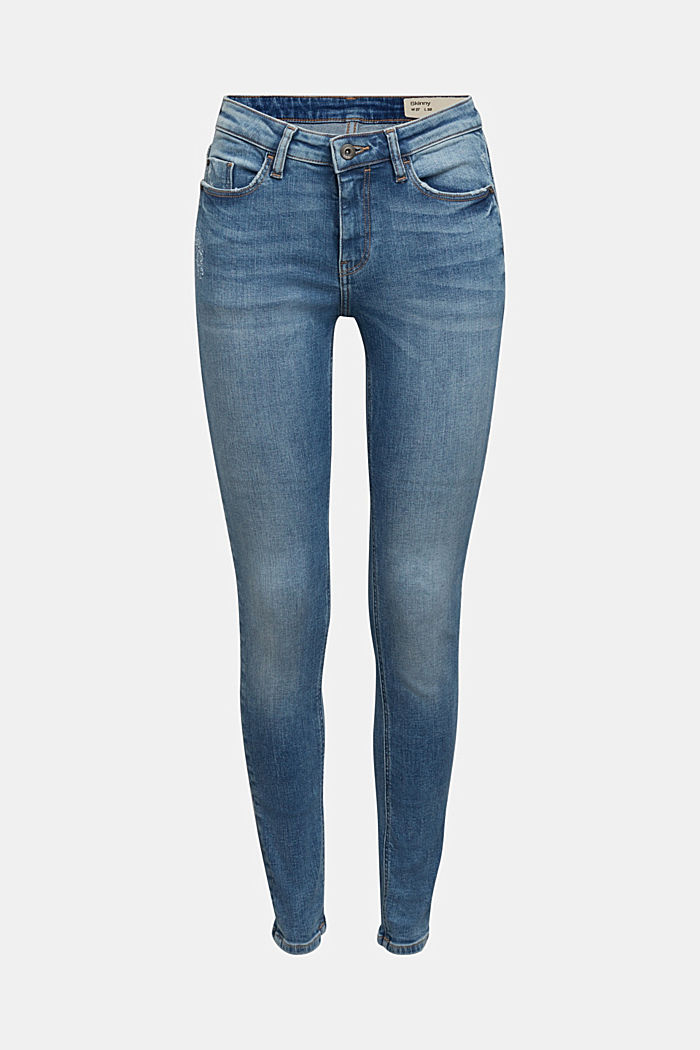 Stretch jeans in organic cotton, BLUE MEDIUM WASHED, detail image number 6