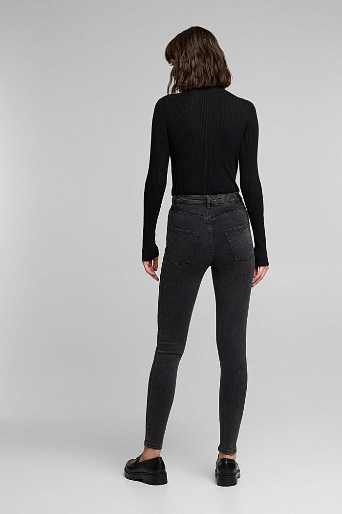 Super stretch jeans with an acid wash, BLACK, detail image number 3