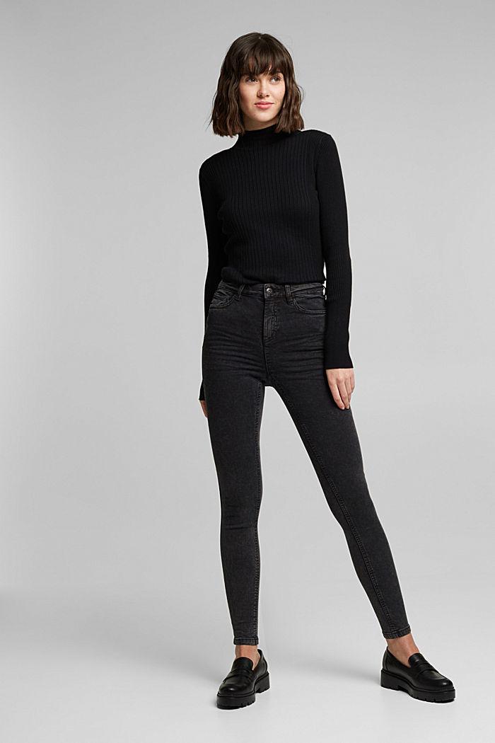 Super stretch jeans with an acid wash, BLACK, detail image number 6