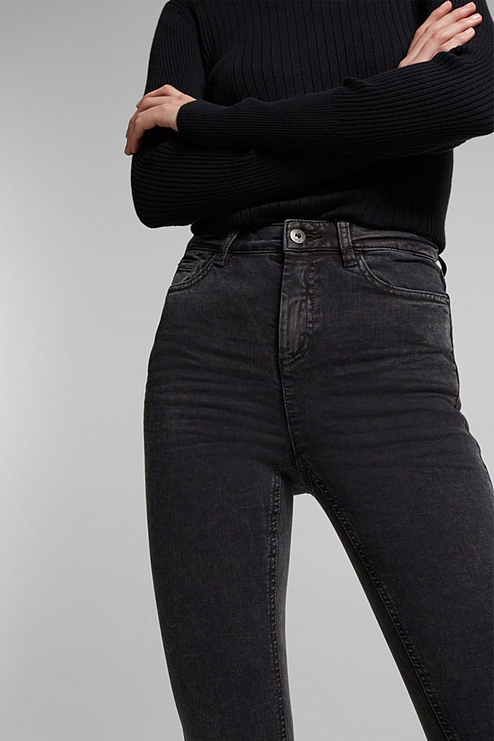 Super stretch jeans with an acid wash, BLACK, detail image number 2