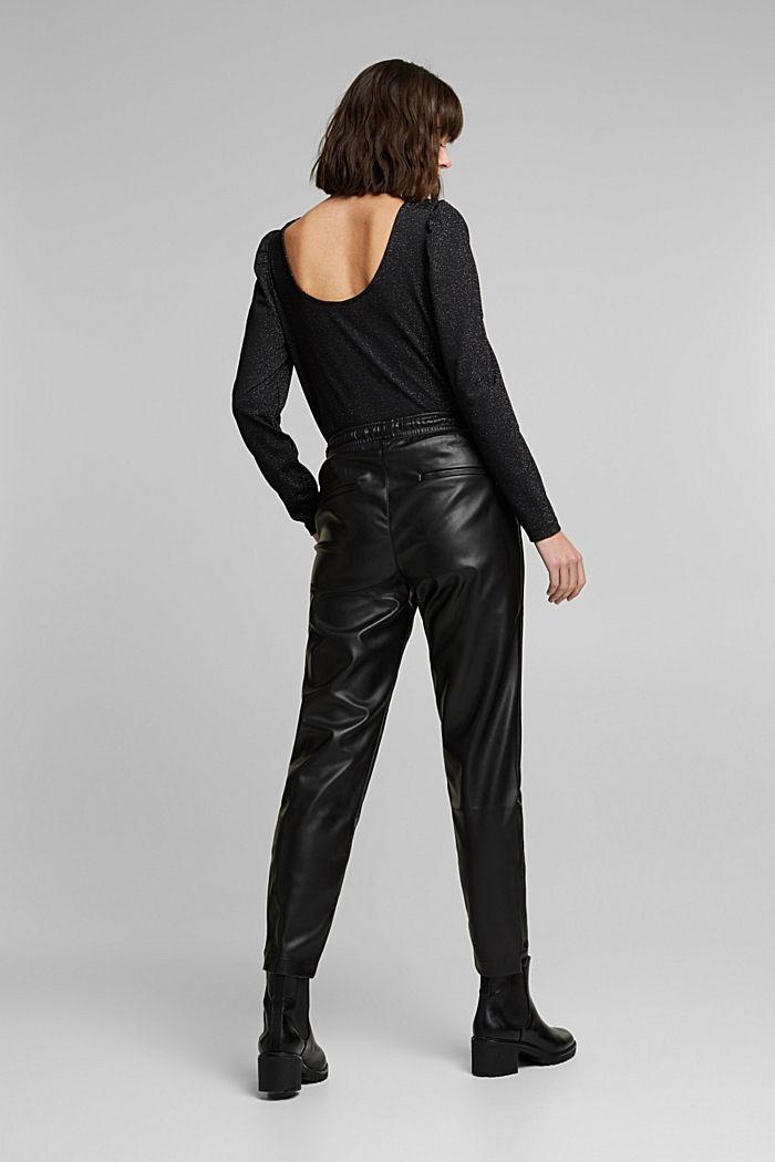 Faux leather tracksuit bottoms, BLACK, detail image number 3