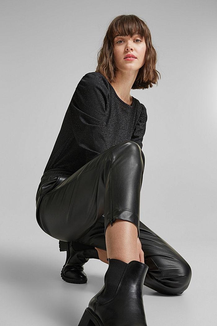 Faux leather tracksuit bottoms, BLACK, detail image number 6