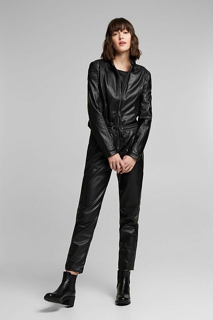 Faux leather tracksuit bottoms, BLACK, detail image number 1