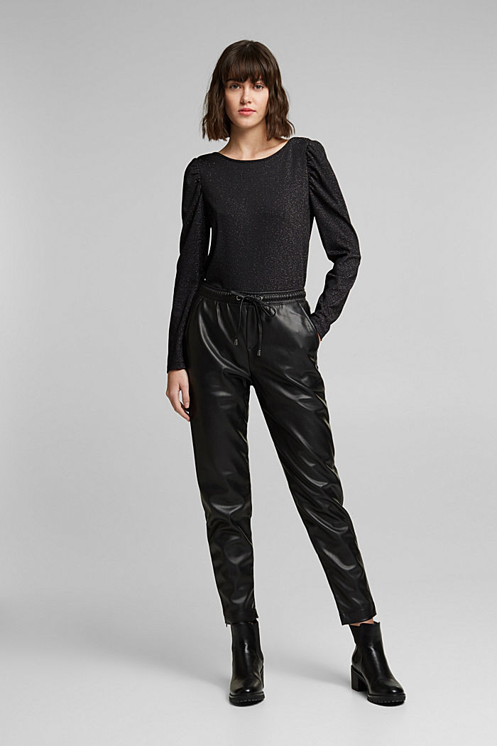 Faux leather tracksuit bottoms, BLACK, detail image number 7