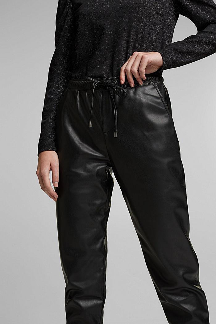 Faux leather tracksuit bottoms, BLACK, detail image number 2