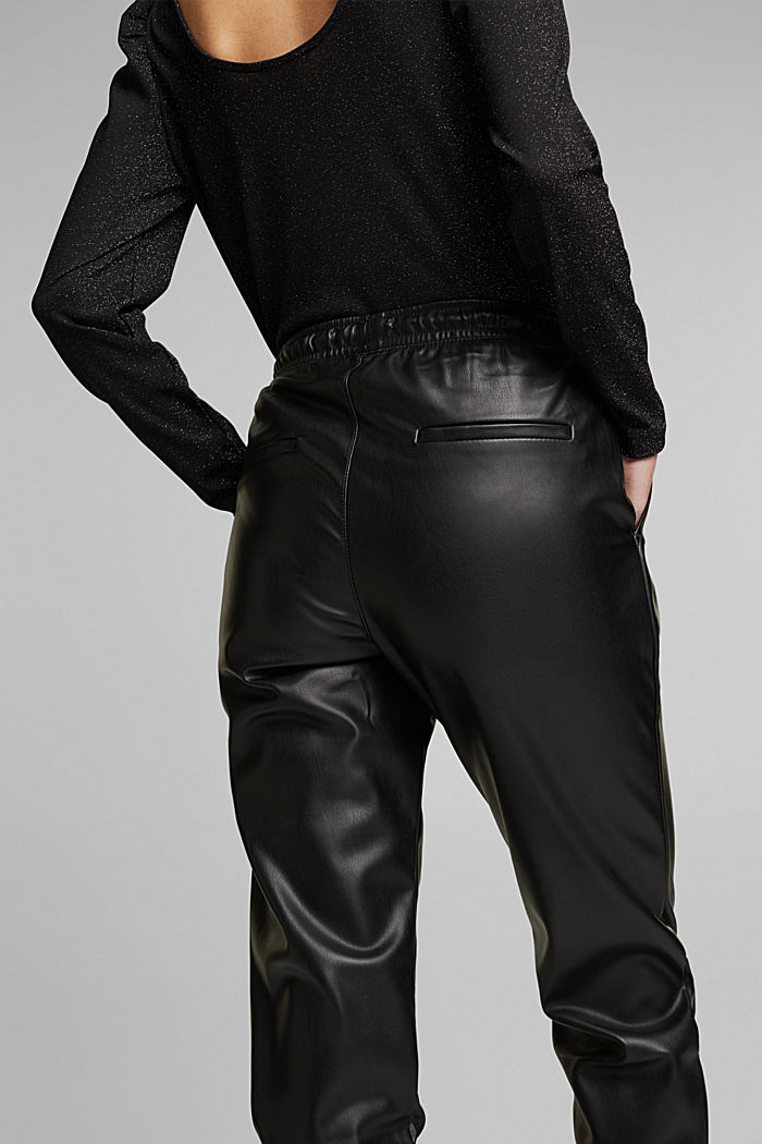 Faux leather tracksuit bottoms, BLACK, detail image number 5