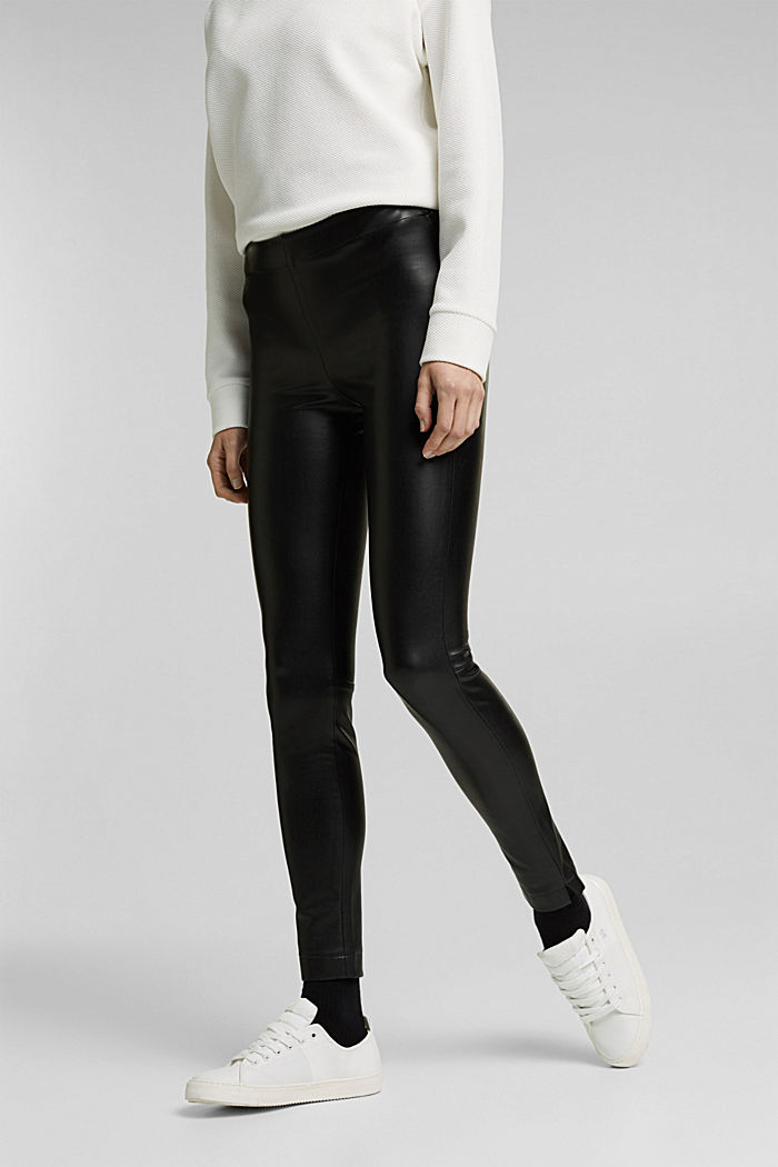 Faux leather leggings with hem slits, BLACK, detail image number 0