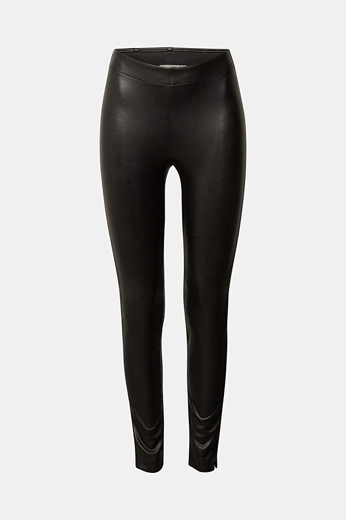 Faux leather leggings with hem slits