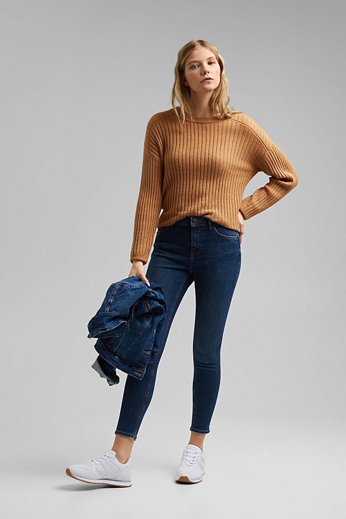 Stretch-Jeans mit Washed-Out-Effekten, BLUE DARK WASHED, detail image number 1