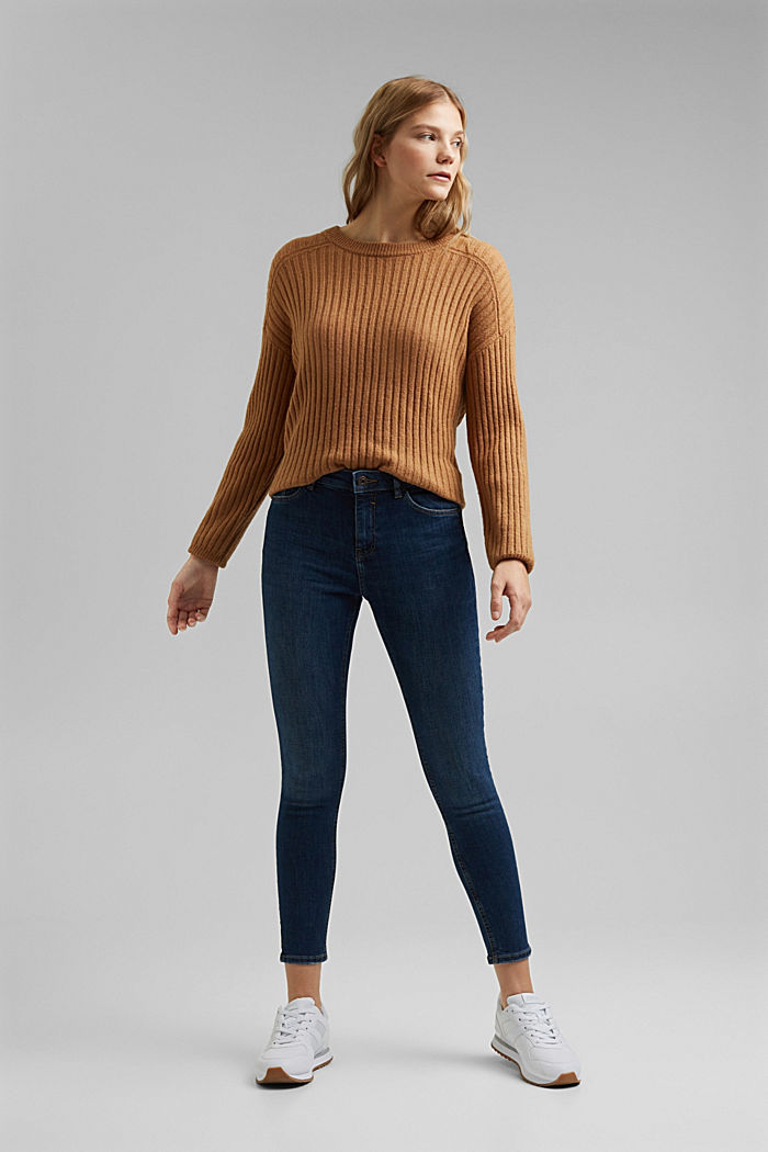 Stretch-Jeans mit Washed-Out-Effekten, BLUE DARK WASHED, detail image number 6