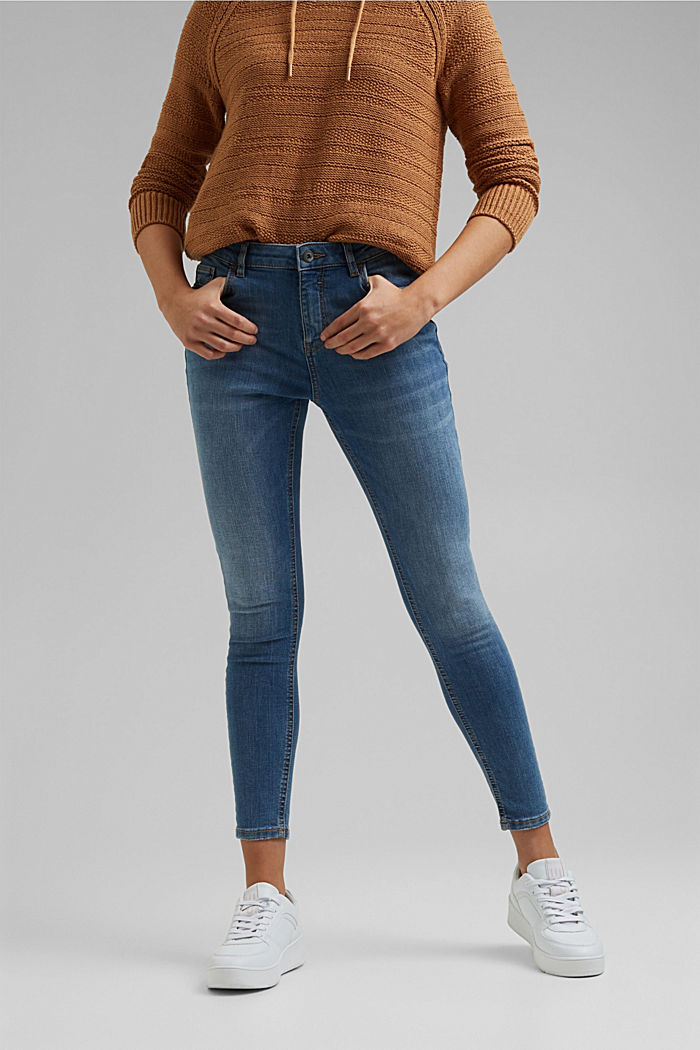 Stretch jeans with washed-out effects, BLUE MEDIUM WASHED, detail image number 0
