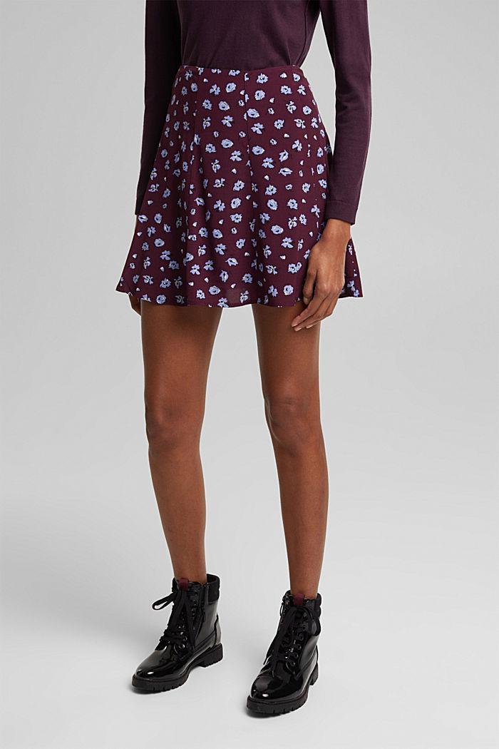Mini skirt made of LENZING™ ECOVERO™, AUBERGINE, detail image number 0
