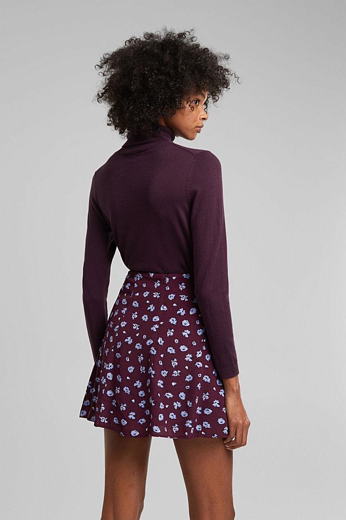 Mini skirt made of LENZING™ ECOVERO™, AUBERGINE, detail image number 3