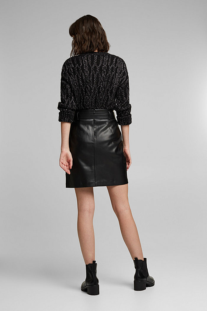 Short skirt with a faux leather belt, BLACK, detail image number 3