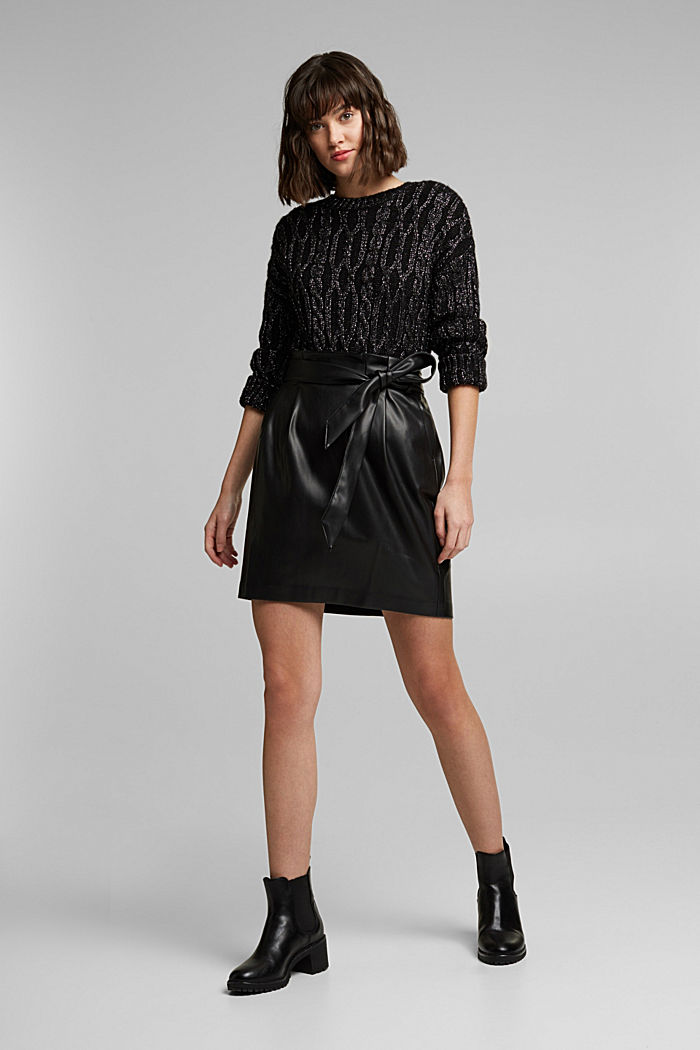 Short skirt with a faux leather belt, BLACK, detail image number 1