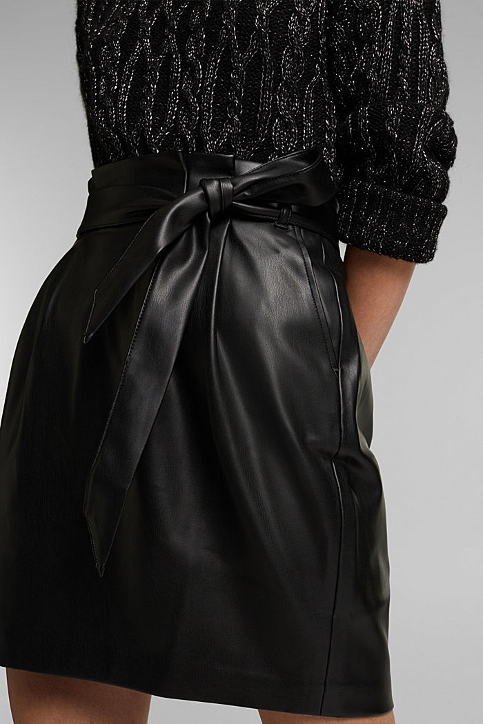 Short skirt with a faux leather belt, BLACK, detail image number 2