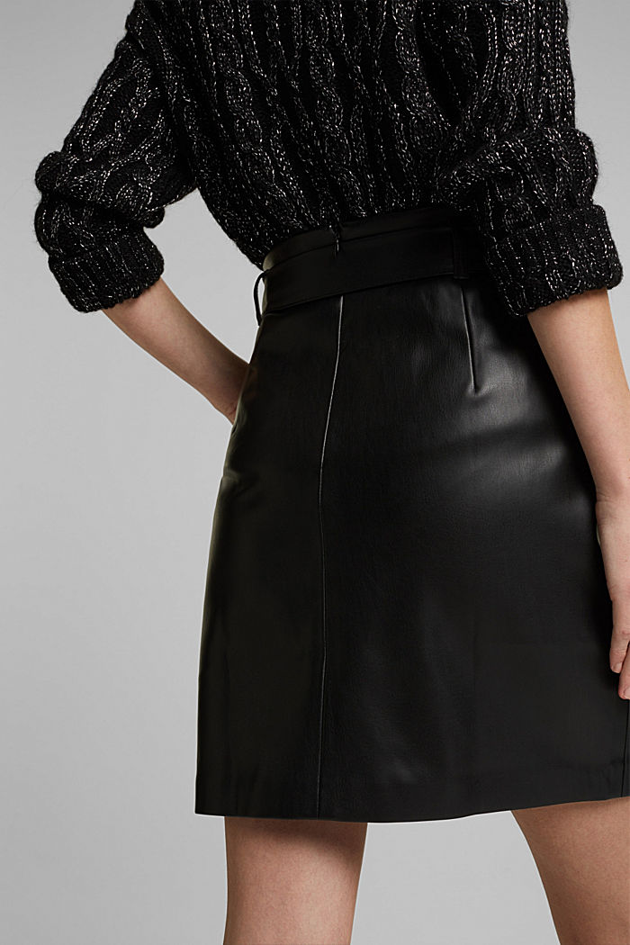 Short skirt with a faux leather belt, BLACK, detail image number 5